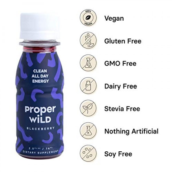 Proper Wild Clean All Day Energy Shots - Blackberry 6-Pack Ext...