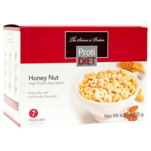 ProtiDiet Cereal - Honey Nut Soy 7/Box - High Protein 15g - Lo...