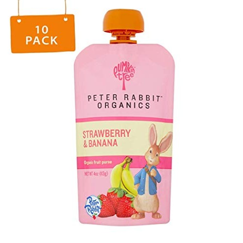 Peter Rabbit Organics, Strawberry & Banana puree, 4oz. Pouches (...