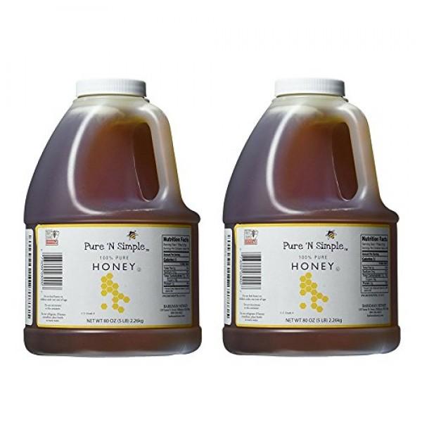 Pure N Simple 100% Pure Honey, 5 lb 80 oz Bulk Size - 2 Pack