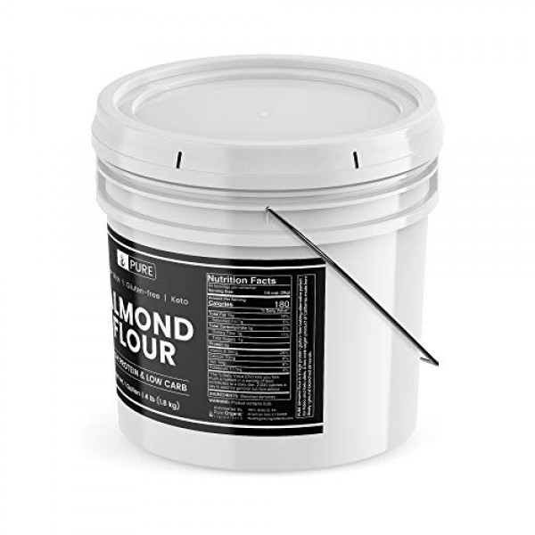 Almond Flour,1 Gallon Bucket 4 lbs by PURE, Gluten-Free, Blanc...