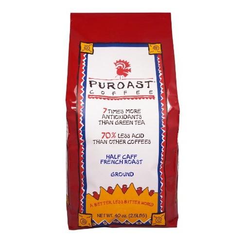 Puroast Low Acid Ground Coffee, Half Caff French Roast, High Ant...