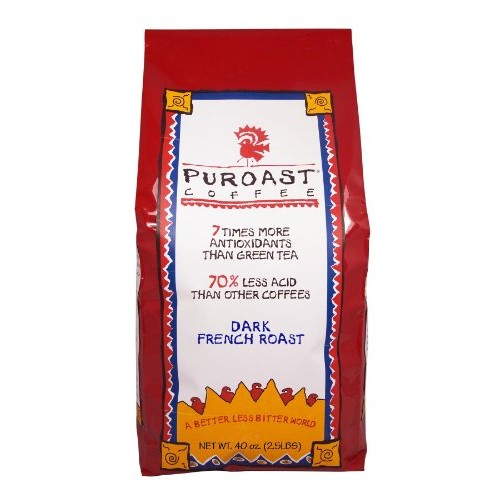 Puroast Low Acid Whole Bean Coffee, French Roast, High Antioxida...