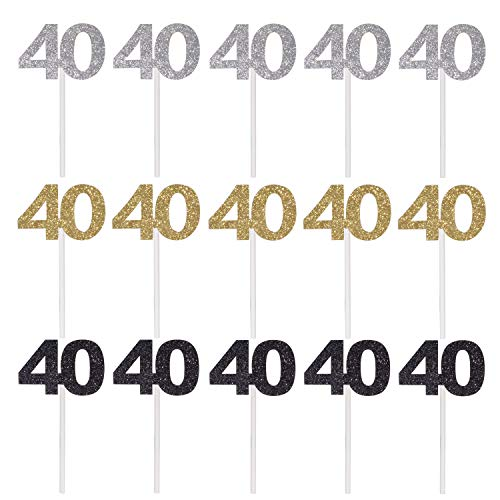 Qibote 36 Pieces Glitter Number 40 Cupcake Toppers for 40th Birt...