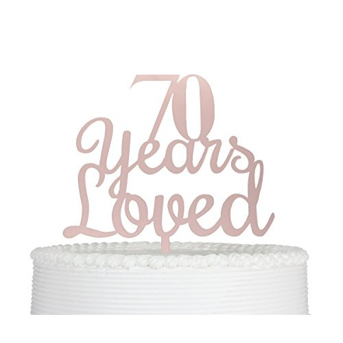 Qttier 70 Years Loved 70th Happy Birthday Cake Topper An