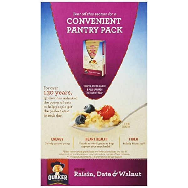 Quaker Instant Oatmeal Raisin, Date & Walnut, 1.3 Ounce Packs -...
