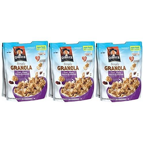 3 X Quaker Natural Granola Oats, Honey, Raisins and Almonds - Tw...