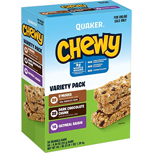 Quaker Chewy Granola Bars, School Variety Pack, 58 Count