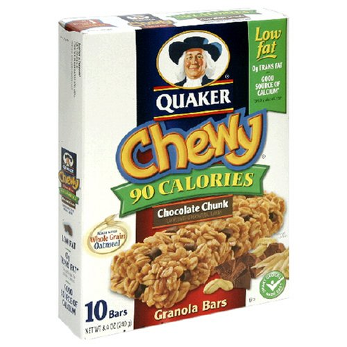Quaker Chewy Granola Bar Low Fat Chocolate Chunk, 8-Count Boxes ...
