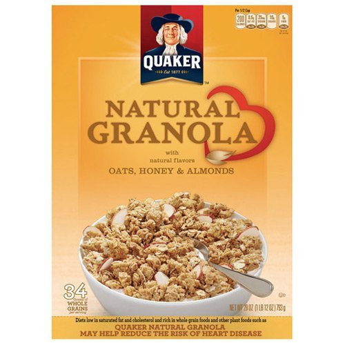 Quaker Oats, Honey & Almonds Natural Granola Cereal, 28 oz 2 Pack
