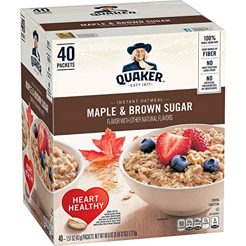 Quaker Instant Oatmeal Maple Brown Sugar - 40ct Pack of 3
