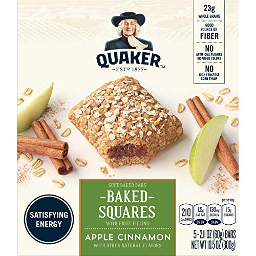 Quaker Breakfast Squares, Soft Baked Bars, Apple Cinnamon, 5 Count