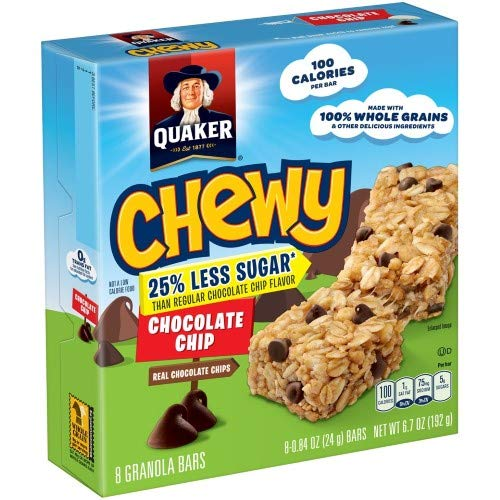 Quaker Chewy 25% Less Sugar Chocolate Chip Granola Bars 8-0.84 O...