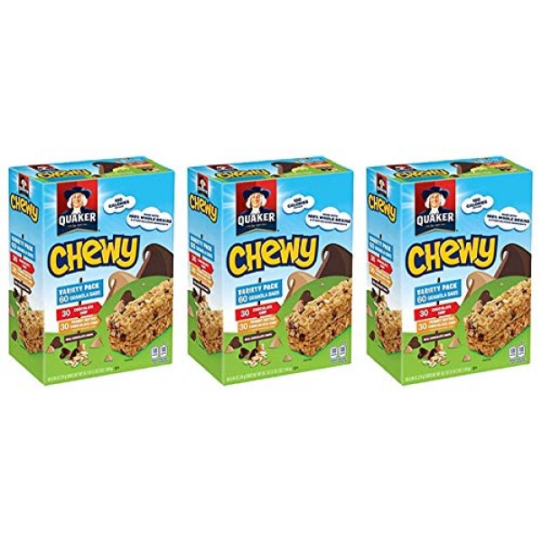 Quaker Chewy eCVVA Variety Granola Bars Peanut Butter and Choco...