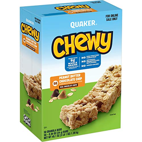 Quaker Chewy Granola Bars, Peanut Butter Chocolate Chip, 58 Pack