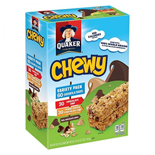 Quaker Chewy Granola Bars Variety Pack, 60 Count