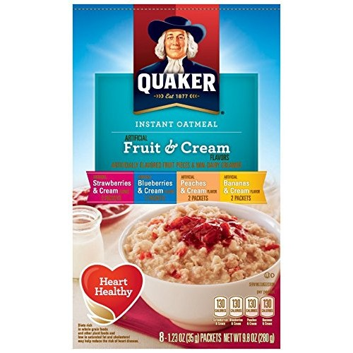 Quaker Instant Oatmeal Fruit & Cream, Variety Pack, 8-Count Boxe...