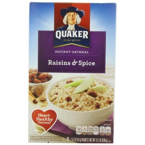 Quaker Instant Oatmeal Raisin& Spice, 10-Count 1.51oz Packets P...