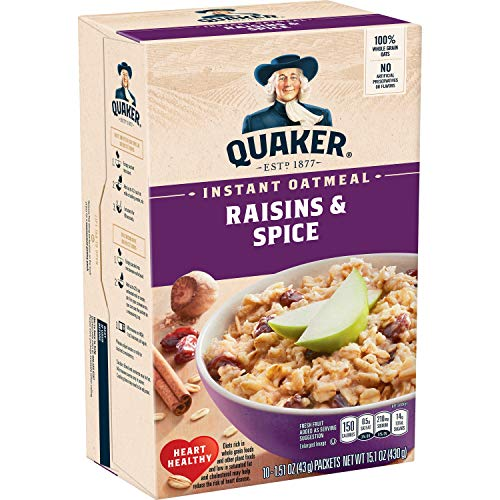 Quaker Instant Oatmeal, Raisin & Spice, Breakfast Cereal, 10 cou...