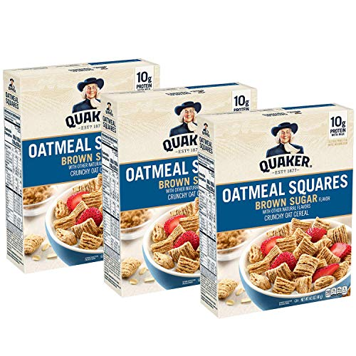 Quaker Oatmeal Squares Breakfast Cereal, Brown Sugar, 14.5oz Box...