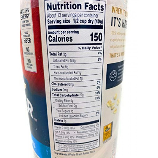 Quaker Oats Quick 1-Minute Oatmeal, Breakfast Cereal, 18oz Canis...