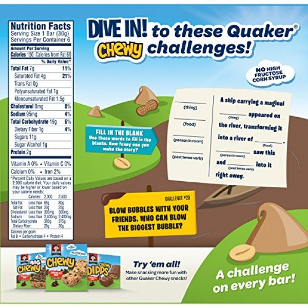 Quaker Peanut Butter Chewy Dipps Granola Bars,1.05 oz bars 6 Bar...
