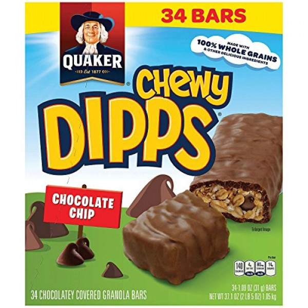 Quaker Chewy Dipps Chocolate Granola Bars, 34 Count, 37.1 Ounce