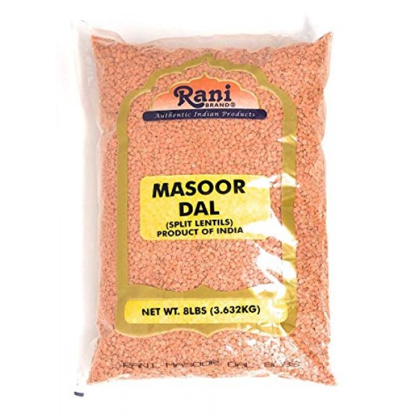 Rani Masoor Dal Indian Red Lentils Split Gram 8lb 128oz Bulk...