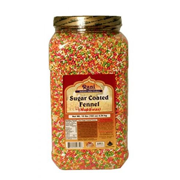 Rani Sugar Coated Fennel Candy 10lbs 4.54kg, Bulk PET Jar ~ In...