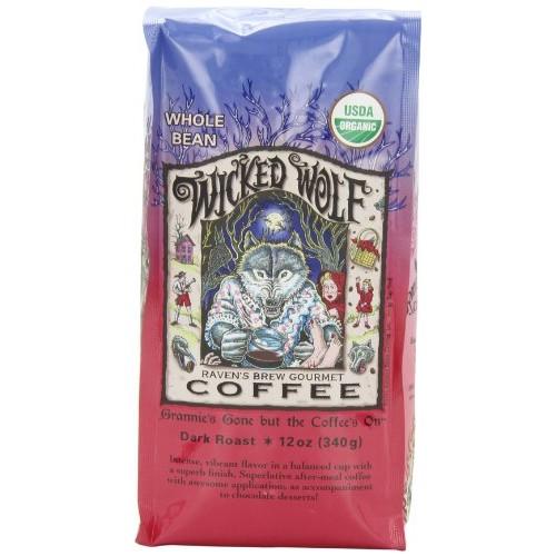 Ravens Brew Whole Bean Organic Wicked Wolf, Dark Roast, 12-Ounc...