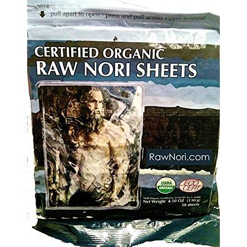 Raw Organic Nori Sheets 50 qty Pack! - Certified Vegan, Raw, Kos...