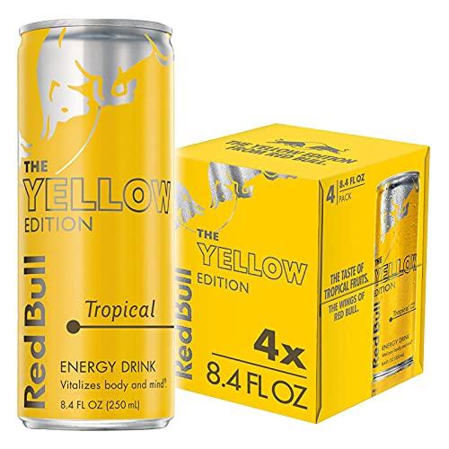 Red Bull Energy Drink, Tropical, 4 Pack of 8.4 Fl Oz, Yellow Edi...