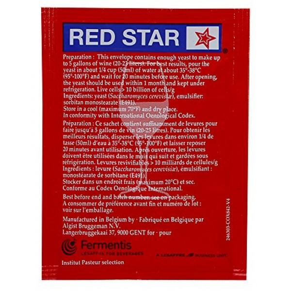 Red Star Premier Rouge Pasteur Red Wine Yeast - 1 Pack 5 grams