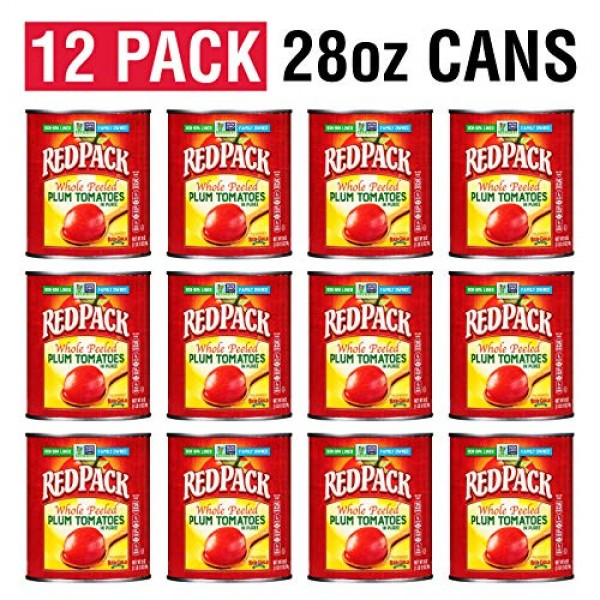 Redpack Whole Peeled Plum Tomatoes in Puree, 28oz Can Pack of 12
