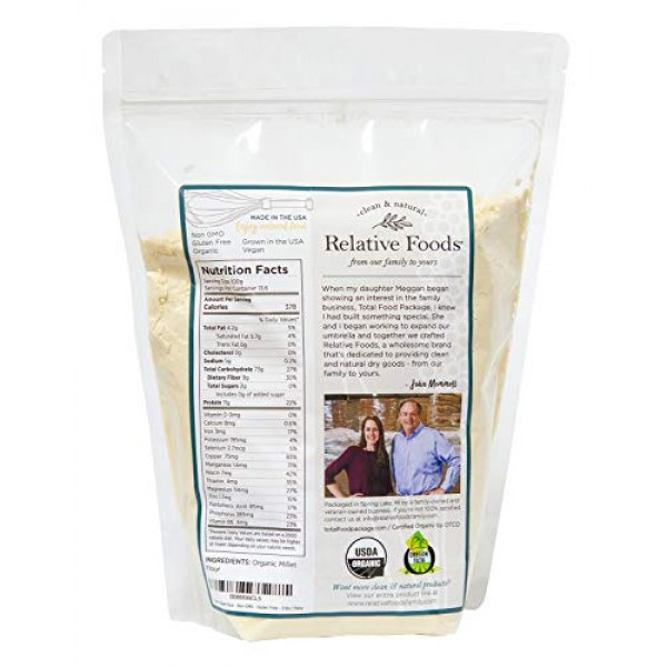 Millet Flour 3 pounds USDA Organic gluten free sourced 100% from...