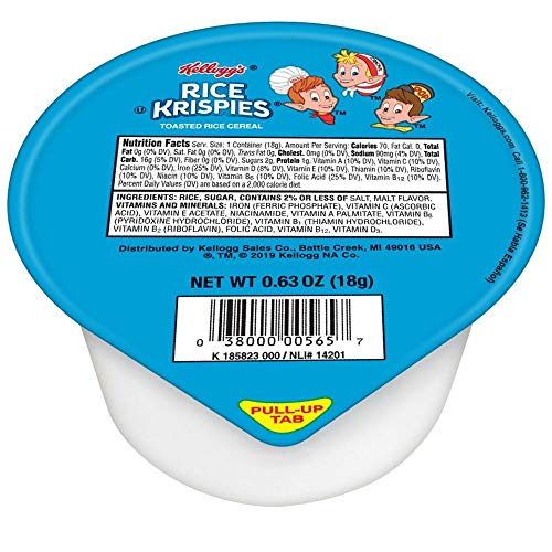 Kellogg's Rice Krispies, Breakfast Cereal in a Cup, Fat-Free, Bu...