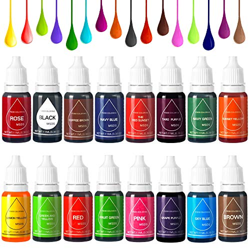 16 Color Food Coloring Set,Food Grade Bright Variety Cake Food C...