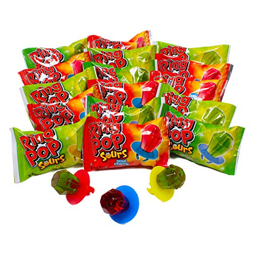 Ring Pop Sours Individually Wrapped Bulk Variety Party Pack – 30...