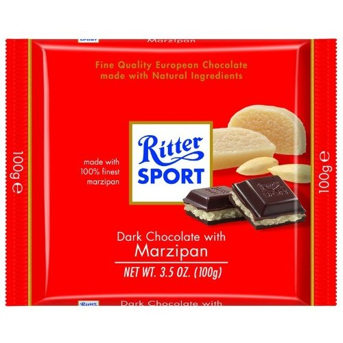 Ritter Sport Bars, Dark Chocolate with Marzipan, 3.5 Ounce Pack...