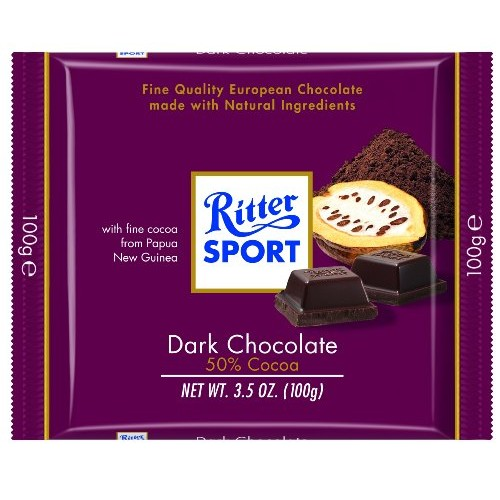 Ritter Sport, Dark Chocolate 50% Cocoa, 3.5-Ounce Bars Pack of 12