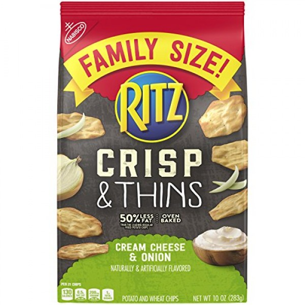 Ritz Crisps & Thins Cream Cheese & Onion Chips, 10 Ounce