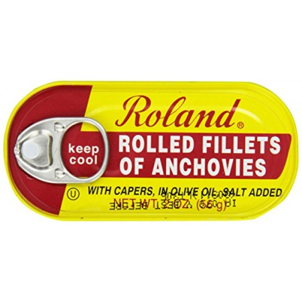 Roland Foods Anchovy Fillets, Rolled with Capers, 2 Ounce Pack ...