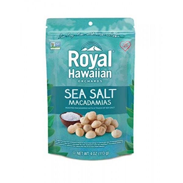 Royal Hawaiian Orchards Macadamias, Sea Salt, 4 Ounce Pack of 6