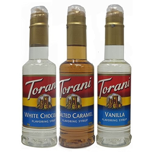Torani Syrup 375ml (3 pack): Vanilla, Salted Caramel, and White ...