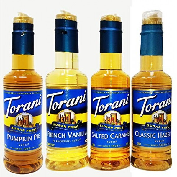 Torani Syrup Sugar Free 375ml 4 Pack Pumpkin Pie, Salted Caramel...