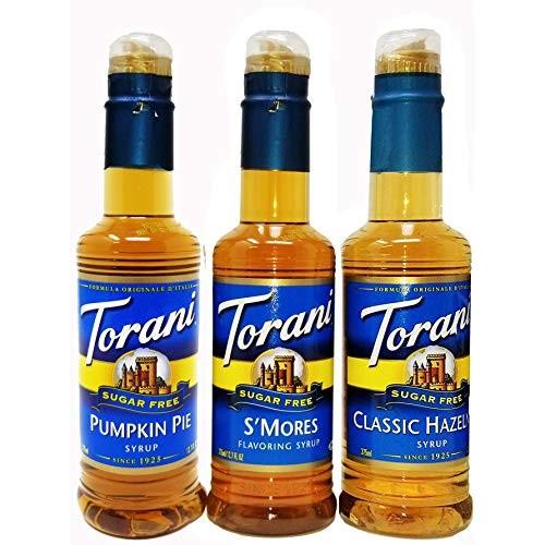 Torani Syrup Sugar Free 375ml 3 Pack Pumpkin Pie, Smores, Hazelnut