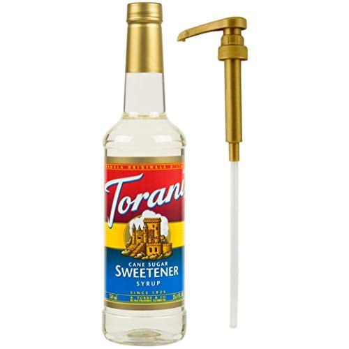 Torani Cane Sugar Sweetener Syrup, 25.4 oz Plus One Syrup Pump