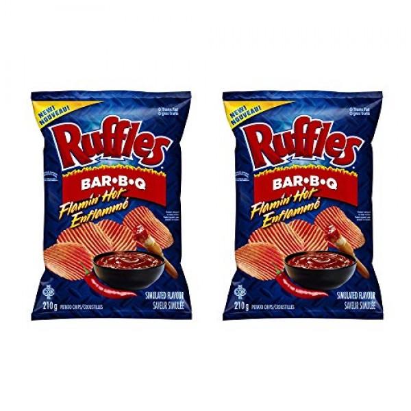 Ruffles Flamin' Hot Bar-B-Q Potato Chips 210g/7.4oz, 2-Pack {Imp...