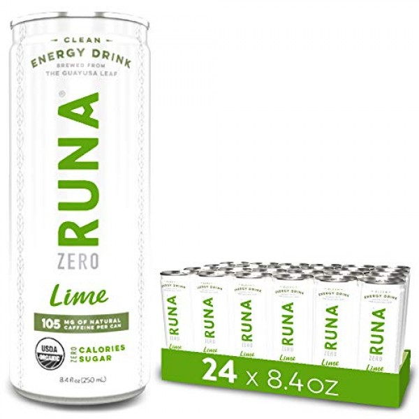 Organic Clean Energy Iced Tea Drink by RUNA ZERO, Lime | Natural...