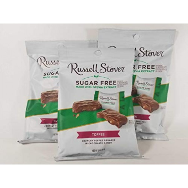 Russell Stover Sugar Free Toffee Squares 3oz Pack of 3